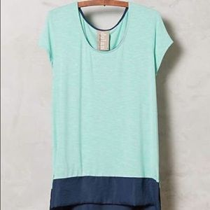 Anthropologie Color Block Mint and Navy Tunic